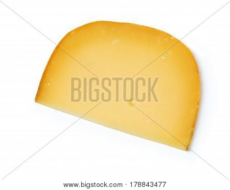 cheddar cheese on top on a white isolated background. with clipping path