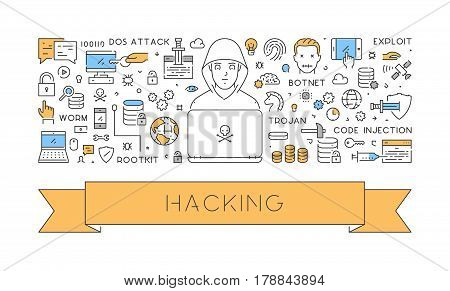 Vector line web concept of hacking. Modern linear banner.