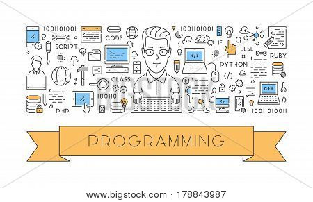 Vector line web concept for programming. Modern linear banner.