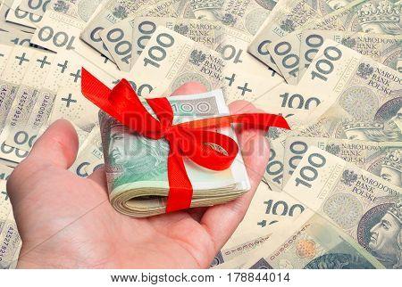 Polish Zloty Trading Business Theme. Polish Zloty Money As A Gift On Hand.  One Hundred Zloty Bills.