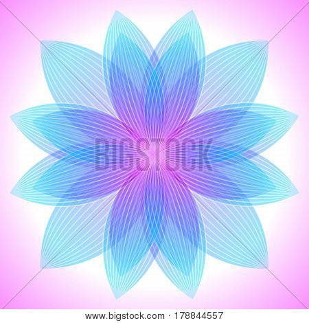Abstract pink and blue flower geometric shapes with many thin lines. Vector pattern. Lotus petals pattern. Vector illustration.