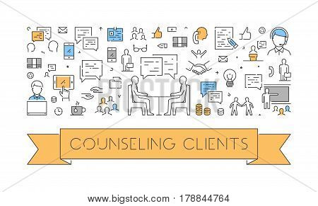 Line web banner for counseling clients. Modern linear concept for customer service.
