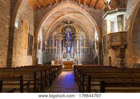 Gruissan, France - October 11, 2016;  Ornately decorated Inside Church of Gruissan Notre dame de L'Assumption