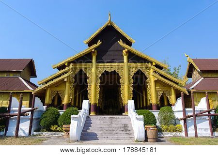 Gold palace Famous attractions in Central. Kanchanaburi Province, Thailand.
