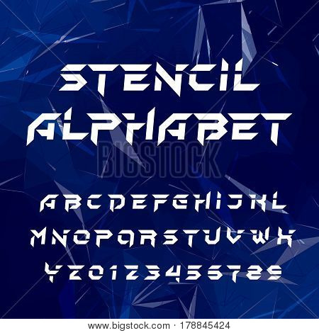 Stencil alphabet typeface. Geometric type letters and numbers on a blue polygonal background. Vector font for your design.