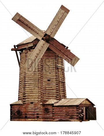 Old high wooden log windmill on white background