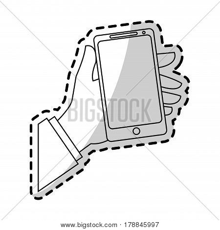 hand holding modern cellphone icon image vector illustration design