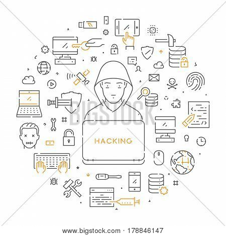 Round linear banner of cybercrime. Vector line symbolof hacking. Open path.