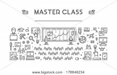 Vector line web banner for master class. Modern linear concept for training.