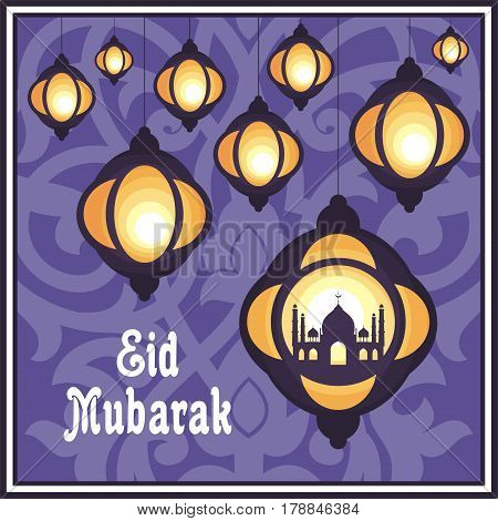 Ramadan greeting card with the image of the beautiful  lanterns, mosque and east ornament in Moorish style. Vector template