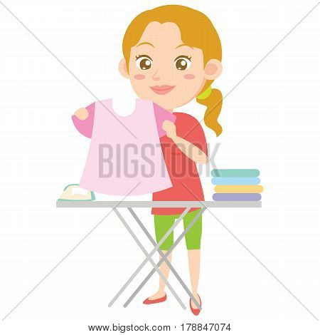 Houswife ironing character design style vector illustration