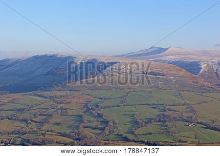 Snow on the Brecon Beacons, Wales in winter