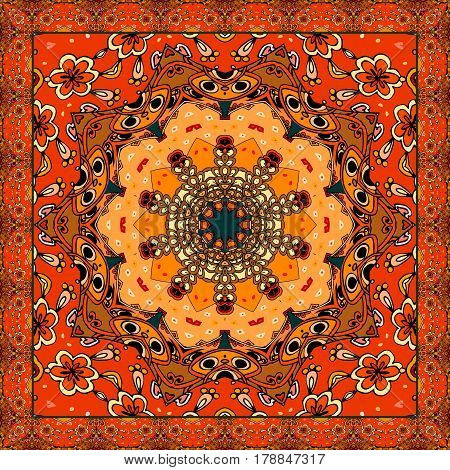 Lovely tablecloth or beautiful scarf with flower - mandala in ethnic style with ornamental frame. Vector illustration. Greeting card.