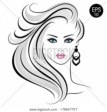 Stock blonde Woman. Beauty Girl Portrait with blonde hair and blue eyes for your design
