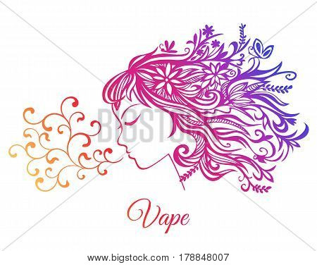A young beautiful girl who exhales the curls of a couple isolated on a white background.