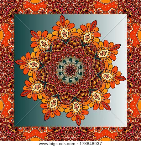 Lovely tablecloth or beautiful scarf with flower - mandala in ethnic style with ornamental frame. Vector illustration. Greeting card or unusual ceramic tile.