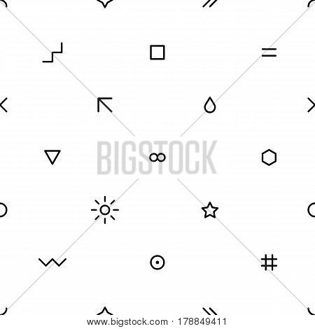 Abstract seamless pattern with black color simple shapes created in flat thin style. You can quickly and easily repaint this vector illustration