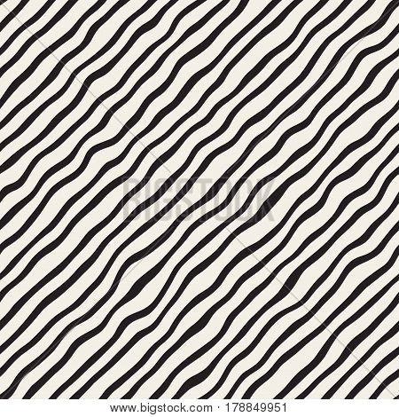 Vector Seamless Black and White Hand Drawn Diagonal Wavy Lines Pattern. Abstract Freehand Background Design.