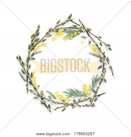 Pussy-willow Branches With Mimosa Circle Frame. Decorative Wreath On White Background Perfect For Ea