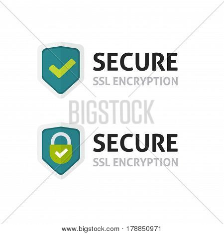 SSL certificate vector icon, secure encryption shield, protected connection label, secure lock symbol isolated on white