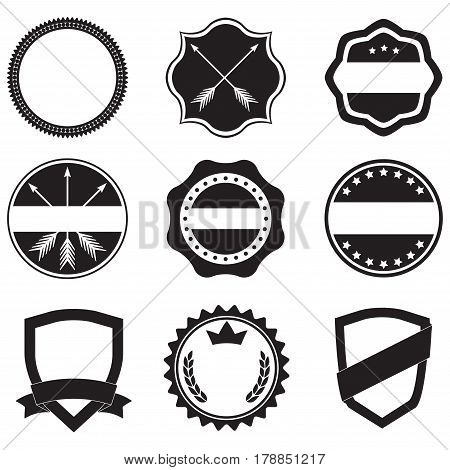 Labels set. Label and badge templates. Collection of retro style emblems typography shields frame borders ribbons banners and stamps. Vector design elements.