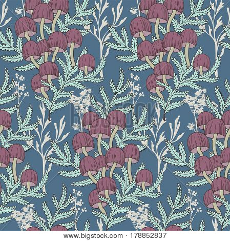 Seamless cute autumn pattern with  forest mushrooms