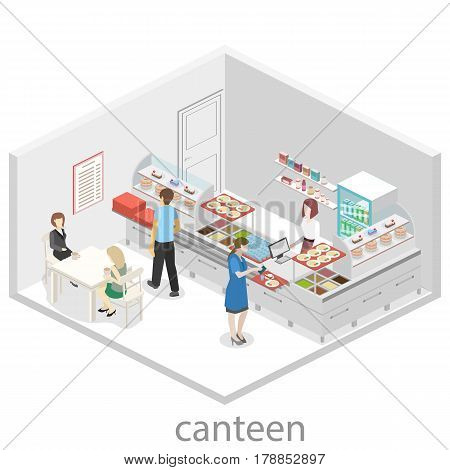 Isometric Flat 3D Concept Vector Interior Of A Coffee Shop Or Canteen.