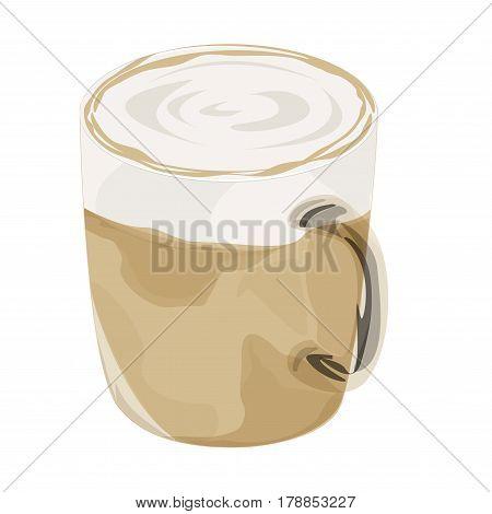 Hot latte coffee vector icon , hot latte