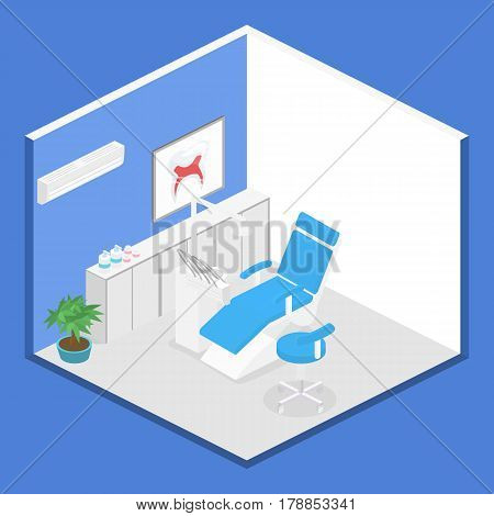 Isometric Dentist Office During Reception Patient.