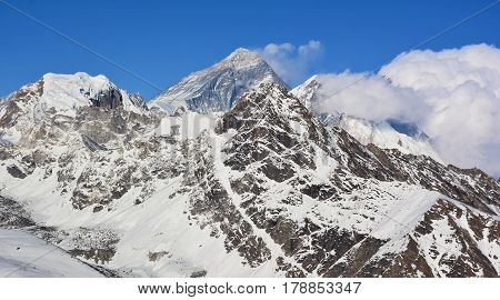 Mt. Everest (8848 M) Highest Summit In The World. View From The Top Of The Mt. Gokyo Ri, Nepal