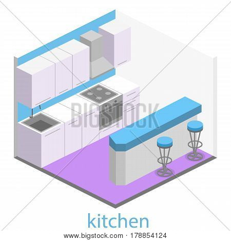Isometric Flat 3D Interior Of Modern Kitchen.