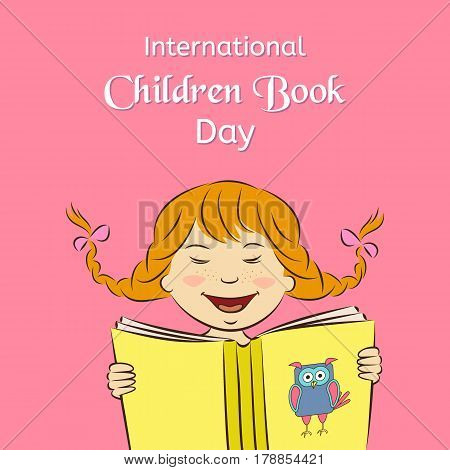 International Children Book Day concept. Laughing girl is reading a book. Vector illustration. Usable for design invitation banner background poster.