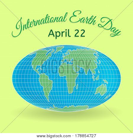 International Mother Earth Day theme. 3d globe or world map as a symbol of environmental and climate literacy. You can add your own text. Vector illustration.
