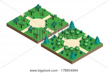 Isometric view projection summer landscape. Nature appearance of park with trees. Set of two locations. Stock vector.