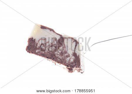 sweet milk chocolate panna cotta on a white background