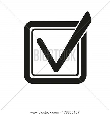 Check List Icon. Check Mark In Square With Rounded Corners Sign. Clip Art. Stock Vector.