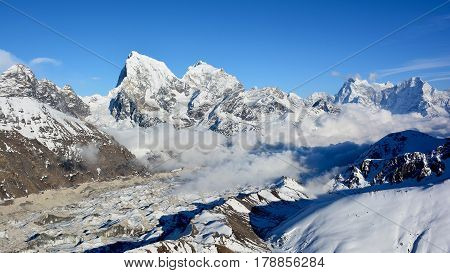 Majestic View Of The Himalayan Mountains From Mt. Gokyo Ri. Mountain Range Covered With Snow On The