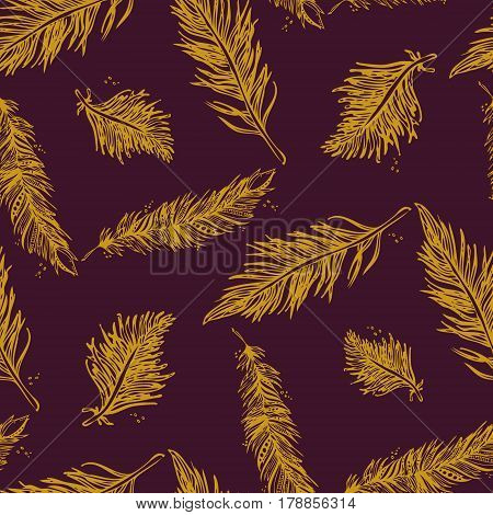 Seamless Pattern With Feathers Golden On A Purple-violet  Background. Vintage Artistically Hand Draw