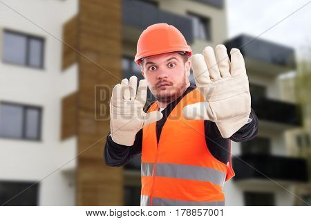 Scared Young Architect Doing Stop Gesture