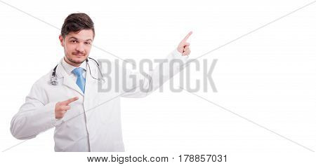 Smiley Medical Doctor Pointing At Something