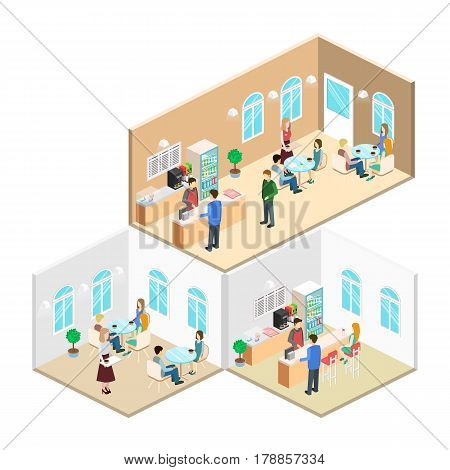 Isometric Interior Of Coffee Shop. Flat 3D Isometric Design Interior Cafe Or Restaurant. People Sit