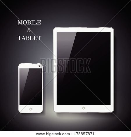 blank mobile and tablet set isolated on black background