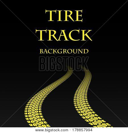 Black background with yellow tire track and sample text