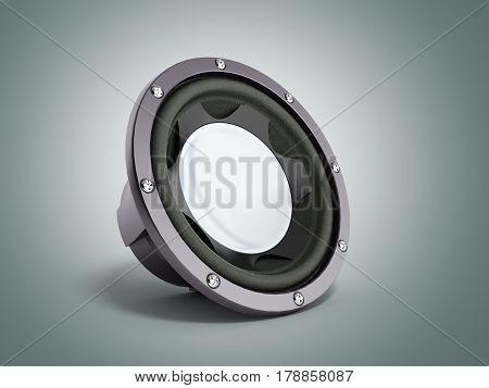 Black Loudspeaker 3D Render On Grey Bacground