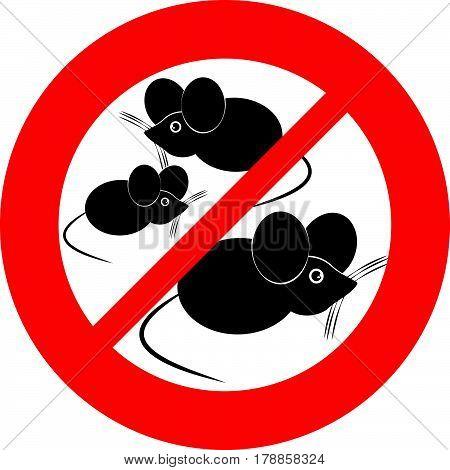 No mouse symbol on white background. Vector illustration.