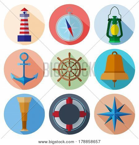 Set of simple nautical flat symbols with long shadows on color circle background vector illustration. Marine icons