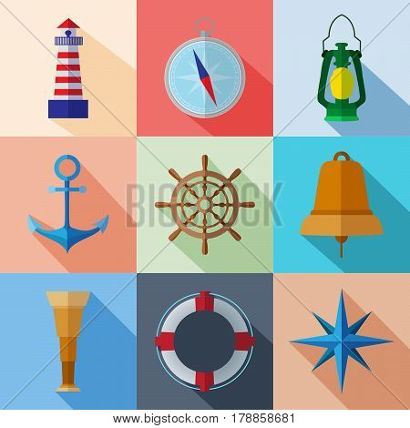 Set of simple nautical flat symbols with long shadows on color square background vector illustration. Marine icons