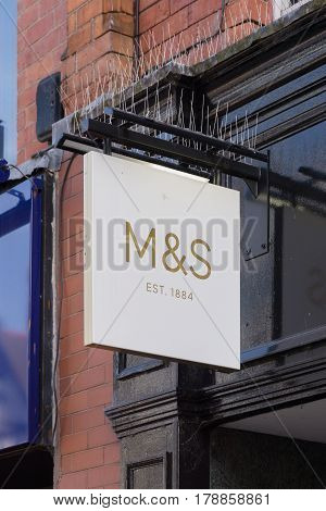 Chester England UK - March 25 2017: M&S sign outside a Marks and Spencer Simply Food store launched as separate convenience format in 2001 concentrating on food sales rather than the more general home goods and clothing offerings