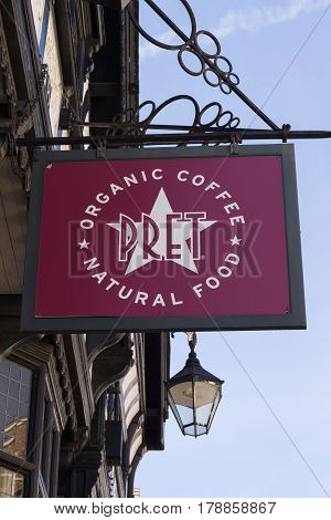 Chester England UK - March 25 2017: Pret A Manger a British sandwich and cafe chain established in 1985 with emphasis on organic and natural ingedients with 289 shops around the UK