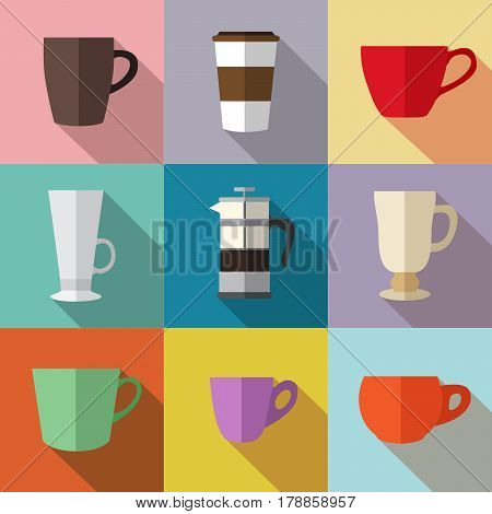 Set of simple colorful coffee cups and french press flat icons on squares vector illustration